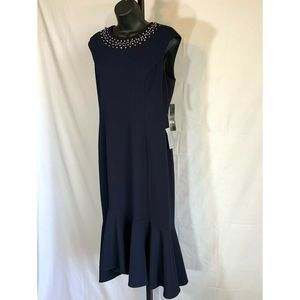 Maggy London Crystal Detail Cocktail Dress 6 Navy